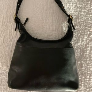 Coach Black Leather Handbag w/ buckle details